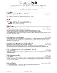Resume Templates Latex Awesome Latex Template Resume With Education In POSTECH And Experience As