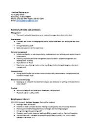 Resume Cv And Cover Letter Templates Sample For Resume Duty Skills