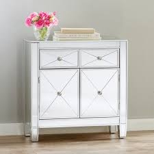 Mirror Side Tables Bedroom Mirrored Nightstand Mirrored Dresser Cabinet Chest End Side
