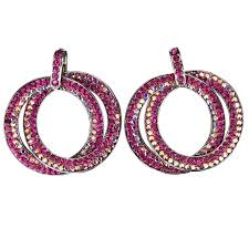 double circle hoops crystal earrings with pink fuchsia ab pink swarovski crystal length