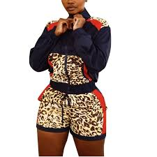 Womens Designer Sweat Suits Us 14 0 33 Off Designer Womens 2 Piece Sets Long Sleeve Leopard Print Jacket Pockets Shorts Sweat Suit Outfits Sport Tracksuit Fall Sets In Womens