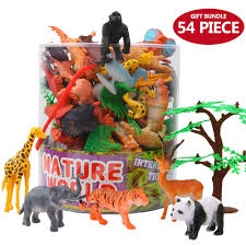 plastic zoo animals toys. Unique Plastic Amazoncom Animals Figure54 Piece Mini Jungle Toys Set With Gift  BoxValeforToy Realistic Wild Animal Learning Party Favors For Boys Girls  Intended Plastic Zoo Z
