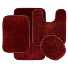 traditional 4 piece washable bathroom rug set in chili pepper red