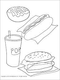 Healthy Food Coloring Pages With Breakfast Foods Also Brain Kids