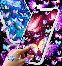 Neon butterflies glowing live wallpaper ...