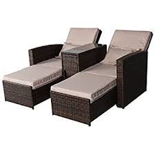 Outsunny 3-Piece Outdoor Rattan Wicker Chaise Lounge Furniture Set