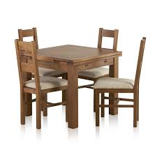 sherwood solid oak dining set 3ft extending table with 4 farmhouse and plain beige fabric express delivery
