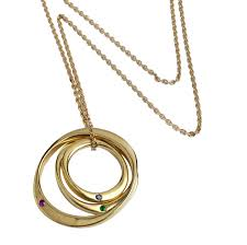 9ct yellow gold three interlinked pendant on a 9ct gold chain with semi precious set