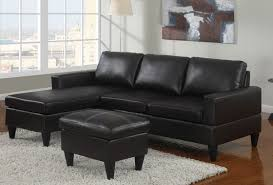apartment size leather furniture. Poundex F7297-1 3 Pc Black Faux Leather Apartment Size Sectional Sofa With Reversible Chaise And Ottoman Furniture E