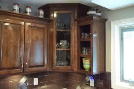 corner kitchen cabinet with glass doors