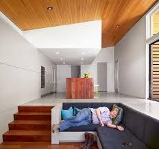 Living Room Built In Modern Midcentury Open Plan Living Room With Sunken Seating Built