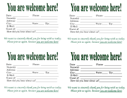 Guest Card Template Guest Card Template Pasoevolistco pertaining to Church Visitor 1