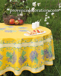 french round tablecloth coated lavender yellow