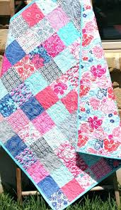 quilting kits for beginners baby quilt patchwork pink blue purple c girly girl blanket nursery decor