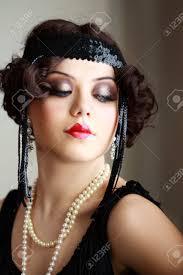 makeup hair retro style roaring 20s flapper stock photo 19032394