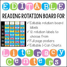 Reading Center Rotation Chart Editable Literacy Center Posters Rotation Cards And I Can Charts