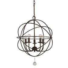 crystorama solaris 5 light english bronze mini chandelier