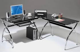 large l shaped office desk. Mesmerizing Black Glass Corner Desk 43 Furniture L Shaped With Stainless Steel Bases Alluring Idea Of Large Office D
