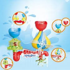 baby bath toy bathtub accessories waterfall water station with 5 stackable cups shower spray water bath