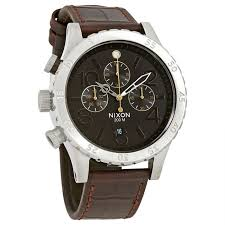 nixon a363 1887 men s 48 20 chrono leather chronograph leather brown dial