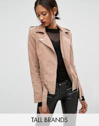 y a s tall gwen suede biker jacket with belted hem from asos