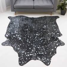 small silver metallic brazilian cow hide rug 236 31 sq