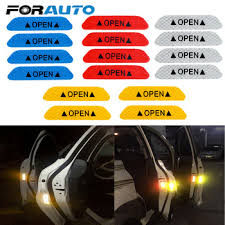 FORAUTO <b>4Pcs</b>/set <b>OPEN Reflective</b> Strips Safety Warning <b>Car</b> ...