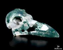 green moss agate crystal raven skull pendant