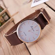 new ultra thin leather watches belt geneva classic simple scale categories
