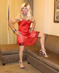 Blonde tranny in black lingere