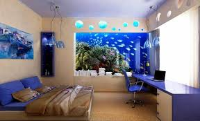 Modern Themed Fish Tank Bedroom Wallpaper To Remodeling Your House