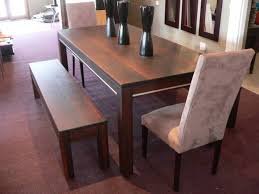 Long Wooden Bench With Modern Solid Wood Dining Table For Excellent Dining  Room Decor Using Black Vases