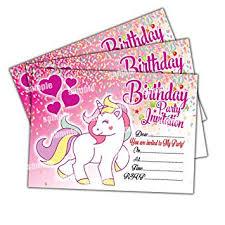 20 X Unicorn Kids Childrens Birthday Party Invitations Invites