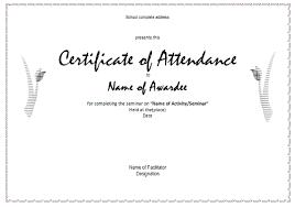 Sample Certificate Of Attendance Template Sample Certificate Of