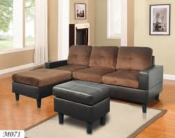 contemporary 3piece brown microfiber sectional sofa set reversible chaise with free ottoman