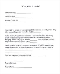30 day termination letters tenancy notice free samples examples format download sample to