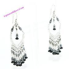 black and silver chandelier hematite stone black bead fringe chandelier earrings sterling silver statement dangle new