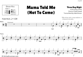 Drum Charts Mama Told Me Not To Come Three Dog Night Drum Sheet Music