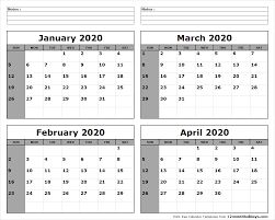 January February March April 2020 Calendar To Print All 12