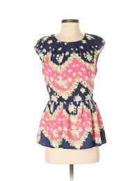 Details About Pim Larkin Women Pink Short Sleeve Blouse S
