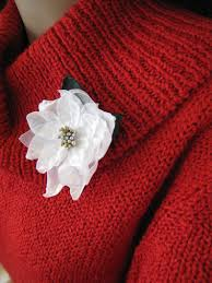 Weiß Weihnachtsstern Christmas Brosche Stoff Blume Revers Stift Shabby Chic Vintage Stil Brust Corsage Schmuck Geschenk Idee