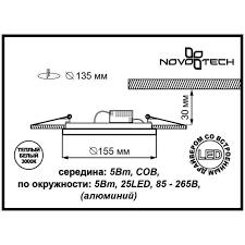 <b>Светильник светодиодный встраиваемый Novotech</b> 5 Вт, цвет ...