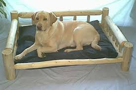 Luxury Log Dog Beds and Other Log Furniture Custom Crafted Pet Feeders
