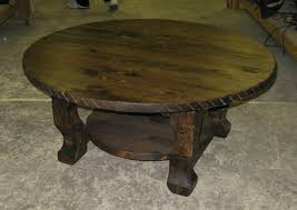 image of rustic round coffee table with storage idea