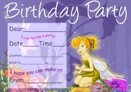 Tinkerbell Invitations Printable Tinker Bell Birthday Party Invitations