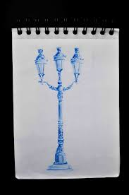 Observational Drawing Of Street Lamp One Colour Drawing Study