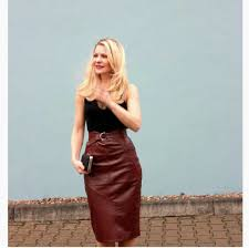asos collection high waisted oxblood leather skirt