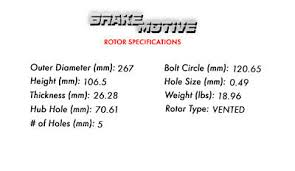 Minimum Rotor Thickness Chart Chevy Front Drill Slot Brake Rotors Metallic Pads For Chevy S10