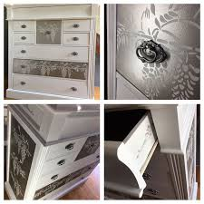 tallboy chest of drawers british paints white and dulux metallics neutral intrigue stencils from gemini creative range