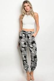 Patterned Joggers Interesting Women's Patterned Jogger Pants Fashion Black And White Stretch EBay